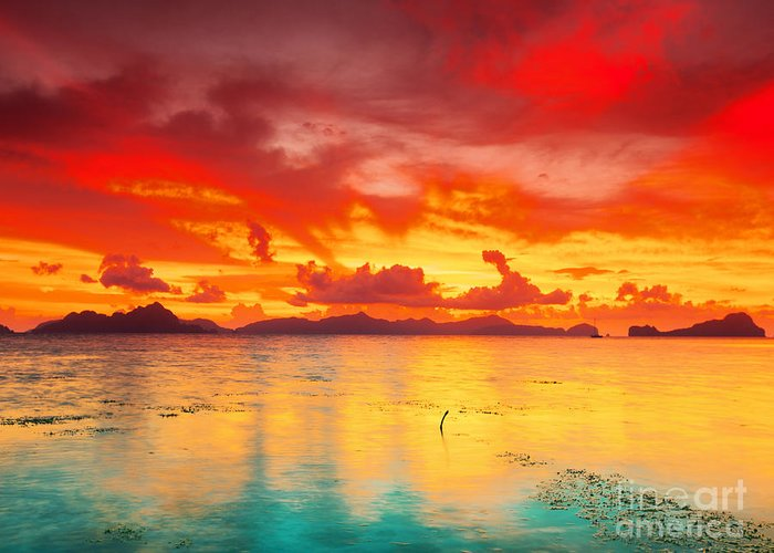 Sunset Greeting Card featuring the photograph Fantasy Sunset by MotHaiBaPhoto Prints
