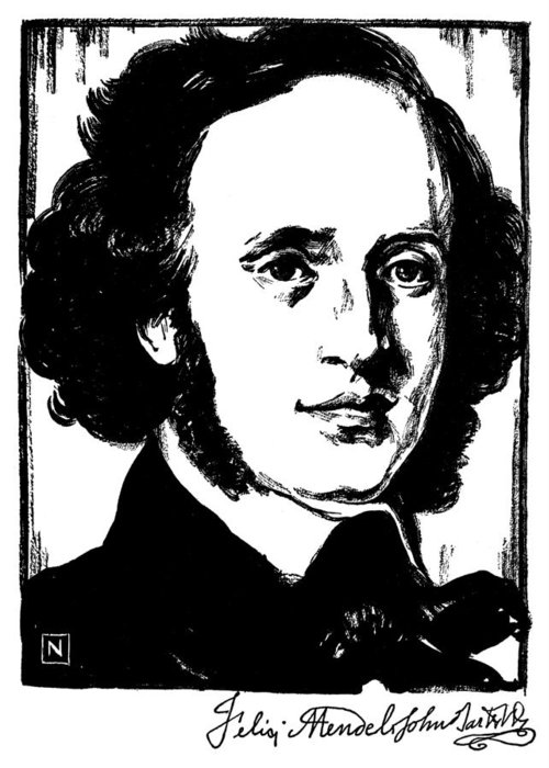 19th Century Greeting Card featuring the photograph Felix Mendelssohn by Granger