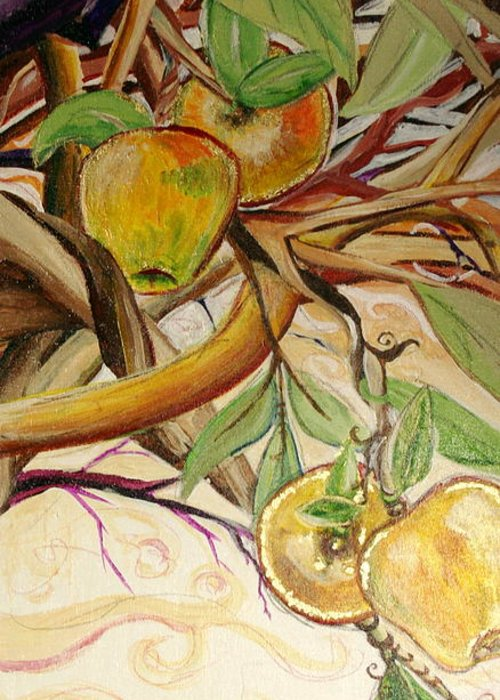 Apple Greeting Card featuring the painting Fifth World Two by Kate Fortin