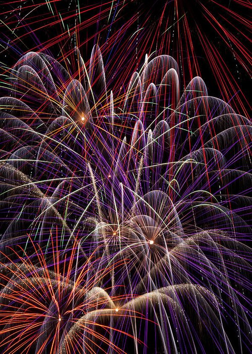 Fireworks 4th Of July Greeting Card featuring the photograph Fireworks by Garry Gay