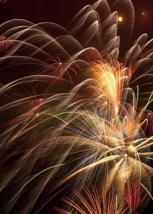 Fireworks 4th Of July Greeting Card featuring the photograph Fireworks In Night Sky by Garry Gay