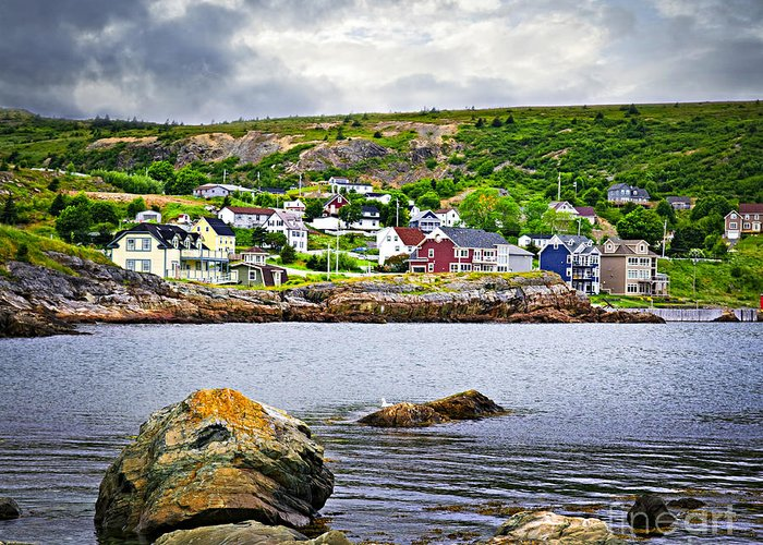 Fishing Greeting Card featuring the photograph Fishing Village In Newfoundland by Elena Elisseeva