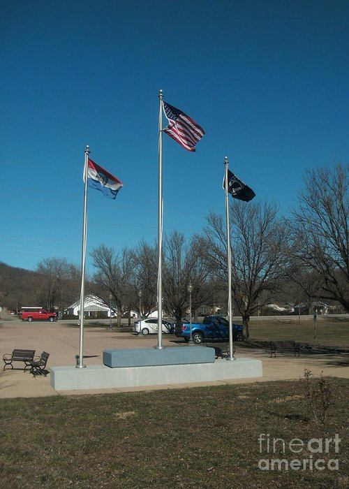 Flag Greeting Card featuring the photograph Flags With Blue Sky by Kip DeVore