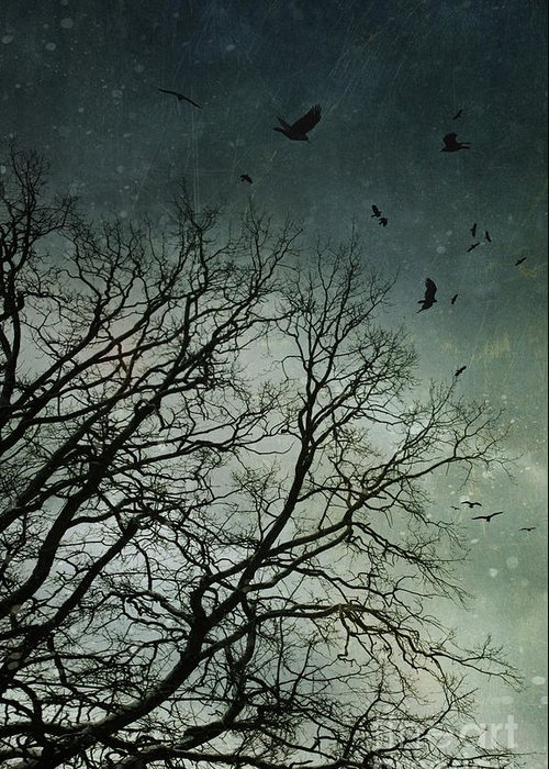 Atmosphere Greeting Card featuring the photograph Flock Of Birds Flying Over Bare Wintery Trees by Sandra Cunningham
