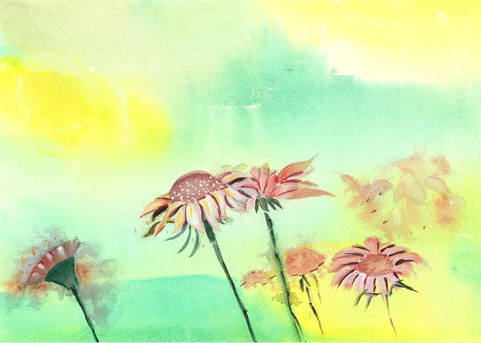 House Greeting Card featuring the painting Flowers 2 by Anil Nene
