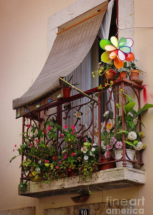 Address Greeting Card featuring the photograph Flowery Balcony by Carlos Caetano