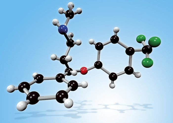Prozac Greeting Card featuring the photograph Fluoxetine Drug Molecule by Miriam Maslo