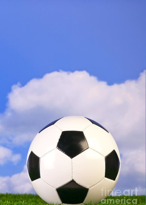 Football Greeting Card featuring the photograph Football On Grass by Richard Thomas