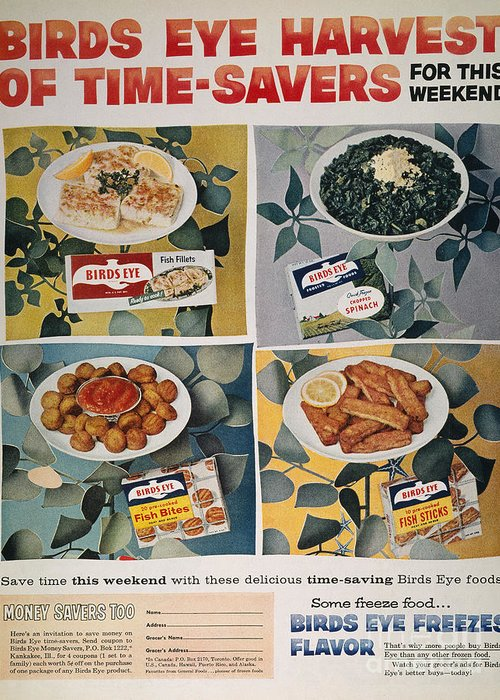 -domestic- Greeting Card featuring the photograph Frozen Food Ad, 1957 by Granger