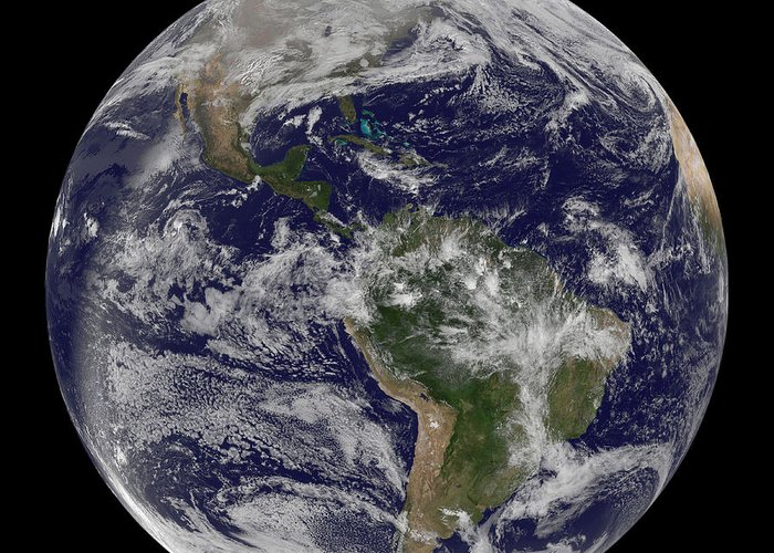 Whole Greeting Card featuring the photograph Full Earth Showing North America by Stocktrek Images