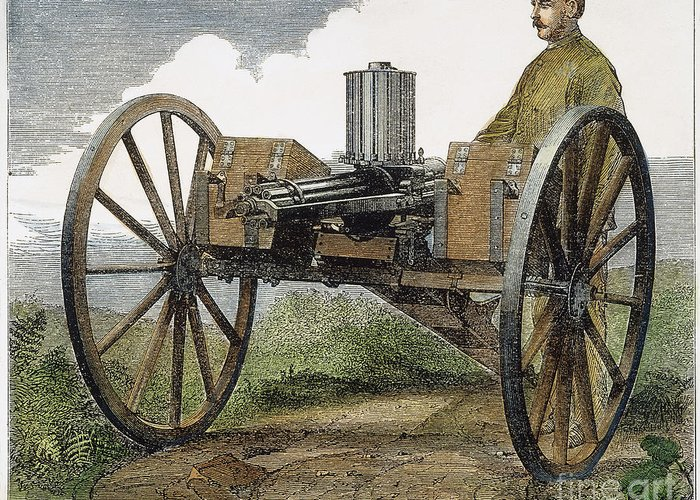 1872 Greeting Card featuring the photograph Gatling Gun, 1872 by Granger