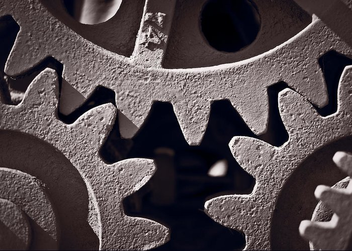 Gear Greeting Card featuring the photograph Gears Number 2 by Steve Gadomski