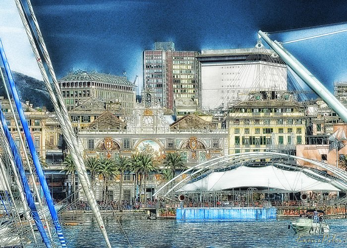 Genova Greeting Card featuring the photograph Genova Expo Area With Saint George Building by Enrico Pelos