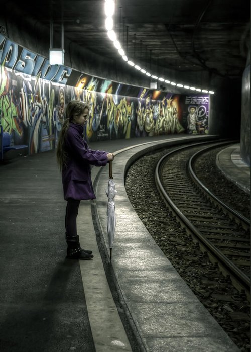 Girls Greeting Card featuring the photograph Girl In Station by Joana Kruse