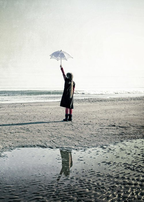 Girls Greeting Card featuring the photograph Girl On The Beach With Parasol by Joana Kruse