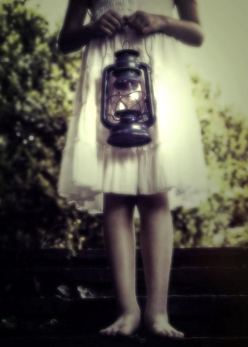 Girl Greeting Card featuring the photograph Girl With Oil Lamp by Joana Kruse