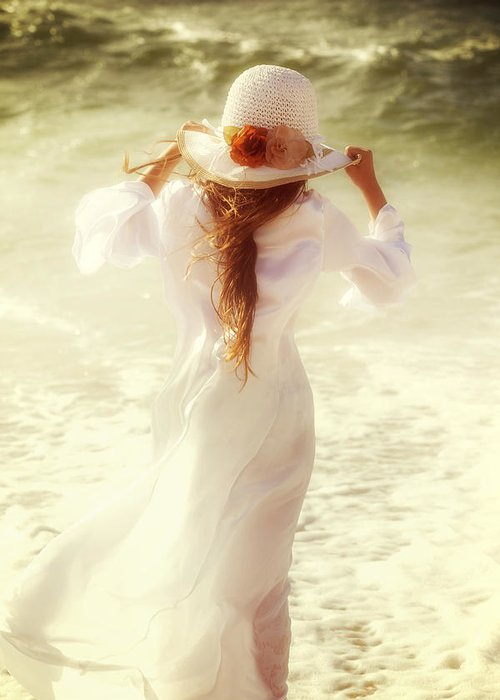 Girl Greeting Card featuring the photograph Girl With Sun Hat by Joana Kruse