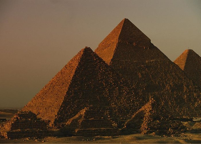 Pyramids Greeting Card featuring the photograph Giza Pyramids From Left Kings Menkure by Kenneth Garrett