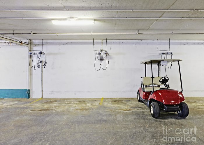 Basement Greeting Card featuring the photograph Golf Cart Parking Garage by Skip Nall