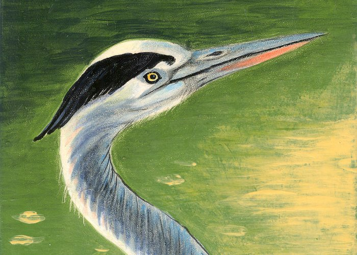 Great Blue Heron Greeting Card featuring the painting Great Blue Heron by Dy Witt