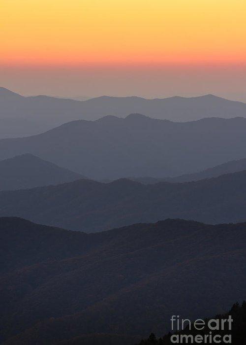Great Smokie Mountains At Sunset Greeting Card featuring the photograph Great Smokie Mountains At Sunset by Dustin K Ryan