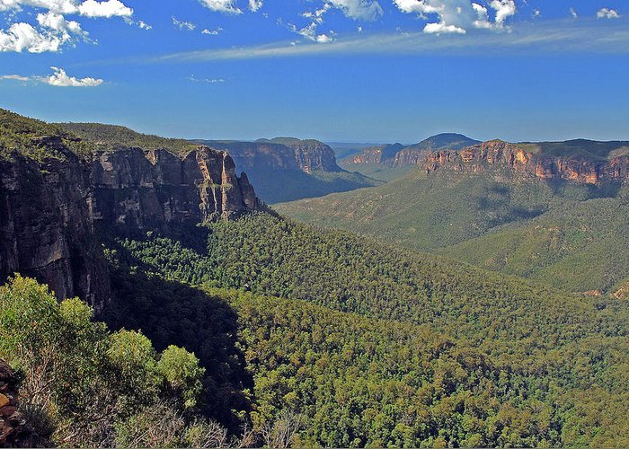 Landscape Greeting Card featuring the photograph Grose Valley by Terry Everson