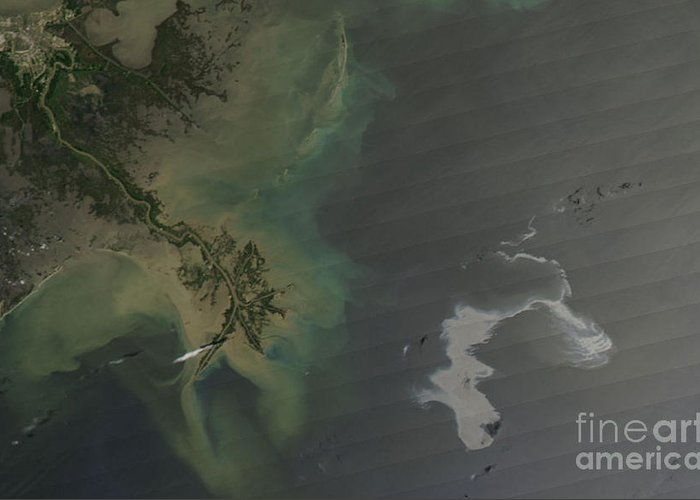 Oil Spill Greeting Card featuring the photograph Gulf Oil Spill, April 2010 by Nasa