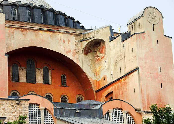 Ayasofya Greeting Card featuring the photograph Hagia Sophia Byzantine Architecture by Artur Bogacki