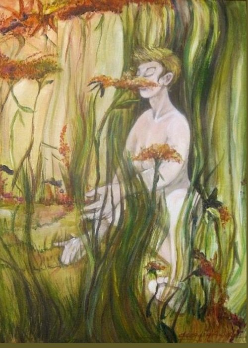 Female Nude Figure Lounging In The Flowers. Hues Of Greens Greeting Card featuring the painting Happy Day In The Flowers by Georgia Annwell