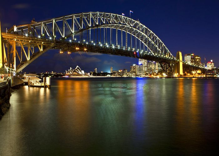 Sydney Harbour Bridge Greeting Card featuring the photograph Harbour Lights by Renee Doyle
