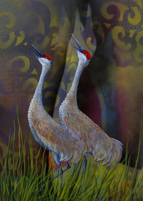Sandhill Greeting Card featuring the painting Harmony by Dee Carpenter