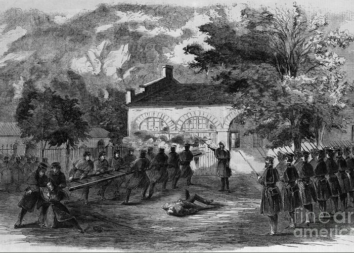 History Greeting Card featuring the photograph Harpers Ferry Insurrection, 1859 by Photo Researchers