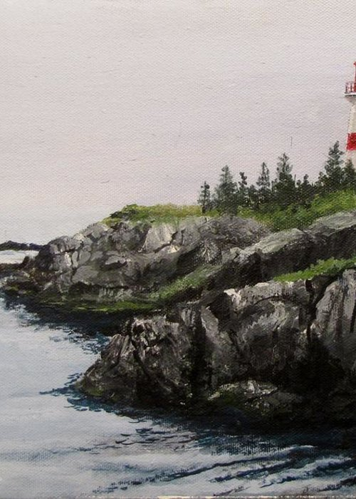 Ocean Greeting Card featuring the painting Head Harbour Lighthouse by Jack Skinner