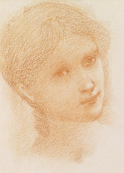 Head Study Of A Girl Greeting Card featuring the drawing Head Study Of A Girl by Sir Edward Burne-Jones