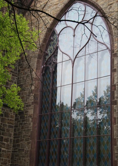Church Stained Glass Greeting Card featuring the photograph Heart Window by Brian Seidenfrau
