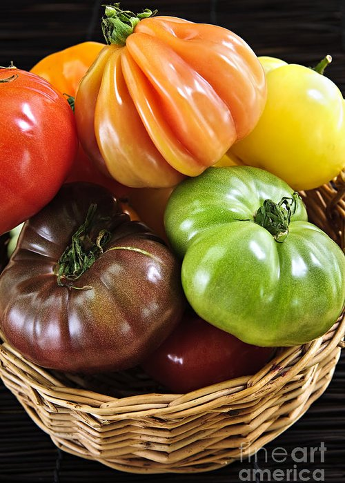 Heirloom Greeting Card featuring the photograph Heirloom Tomatoes by Elena Elisseeva