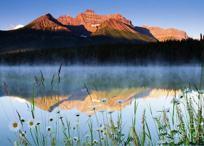 Alberta Greeting Card featuring the photograph Herbert Lake by Ginevre Smith