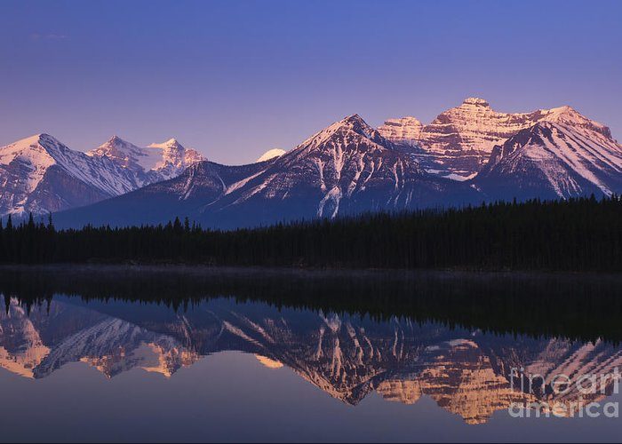 Herbert Lake Greeting Card featuring the photograph Herbert Lake Sunrise by Ginevre Smith