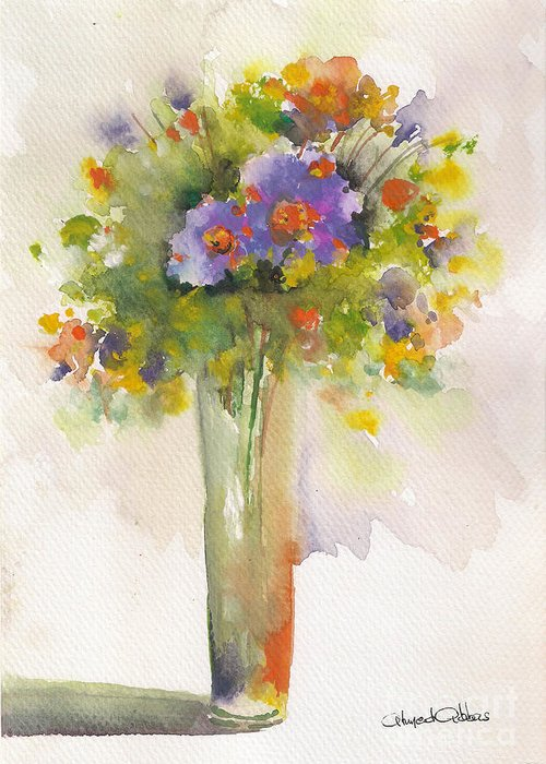 Flowers Paintings Greeting Card featuring the painting Hessa by Ahmed Abbas