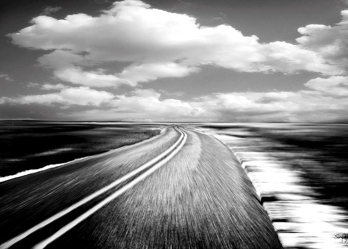 Black & White Greeting Card featuring the photograph Highway Run by Scott Pellegrin