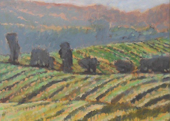 Vineyard Greeting Card featuring the painting Hillside Vineyard by Kip Decker