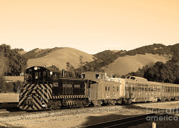 Black And White Greeting Card featuring the photograph Historic Niles Trains In California.southern Pacific Locomotive And Sante Fe Caboose.7d10819.sepia by Wingsdomain Art and Photography