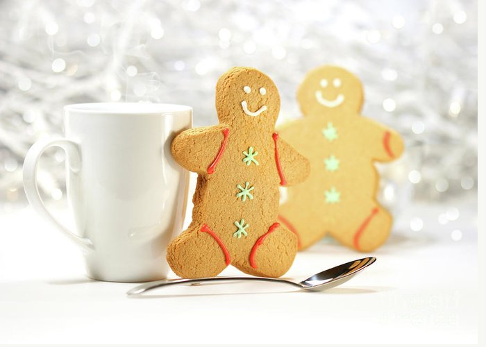 Background Greeting Card featuring the photograph Hot Holiday Drink With Gingerbread Cookies by Sandra Cunningham