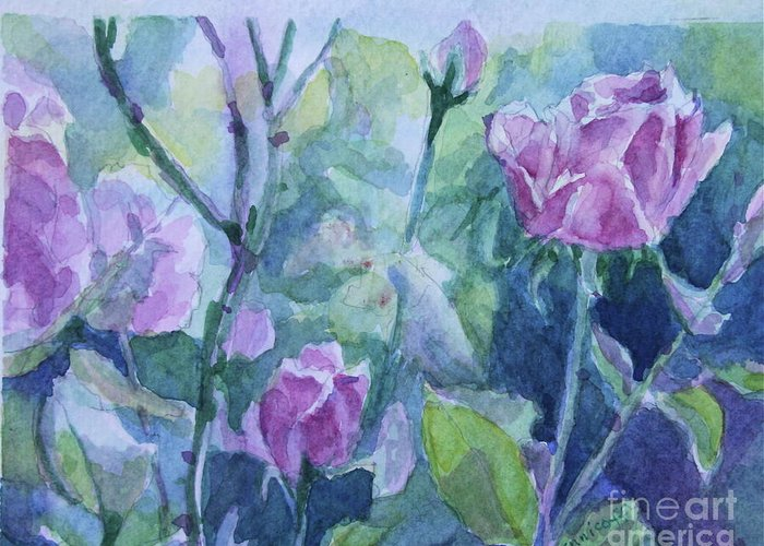 Flowers Greeting Card featuring the painting How Did The Rose by Jan Bennicoff