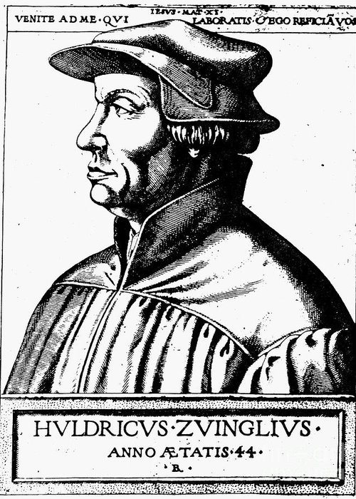 1531 Greeting Card featuring the photograph Huldreich Zwingli by Granger