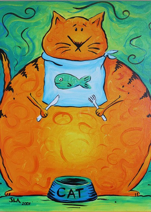 Fat Greeting Card featuring the painting Hungry Cat by Jennifer Alvarez