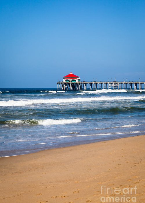 America Greeting Card featuring the photograph Huntington Beach Pier In Orange County California by Paul Velgos
