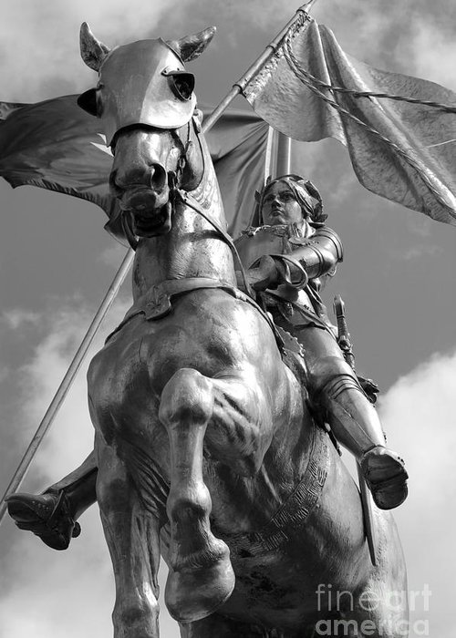 Travelpixpro New Orleans Greeting Card featuring the photograph Joan Of Arc Statue French Quarter New Orleans Black And White by Shawn O'Brien