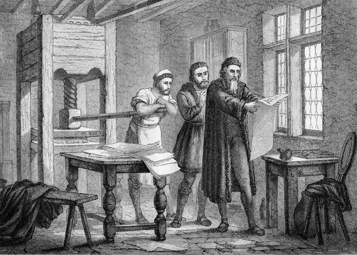 Johann Gutenberg Greeting Card featuring the photograph Johann Gutenberg, German Inventor by