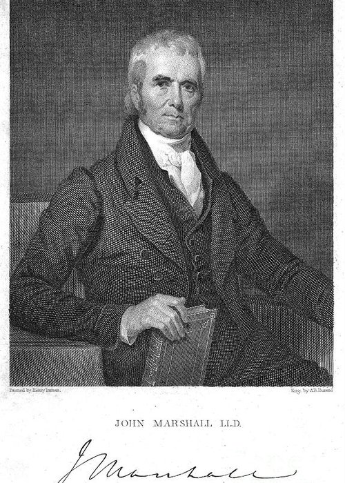 19th Century Greeting Card featuring the photograph John Marshall (1755-1835) by Granger